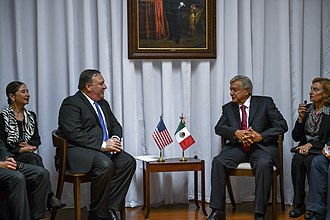 Mexico–United States relations - U.S. Secretary of State Mike Pompeo (left) with Mexican President-elect Andrés Manuel López Obrador (right) during a state visit to Mexico City in July 2018.