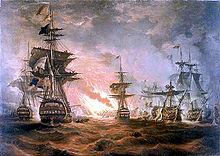 в 1798 году Абукирское сражение.  Английский флот адмирала Нельсона одерживает победу над французским флотом.