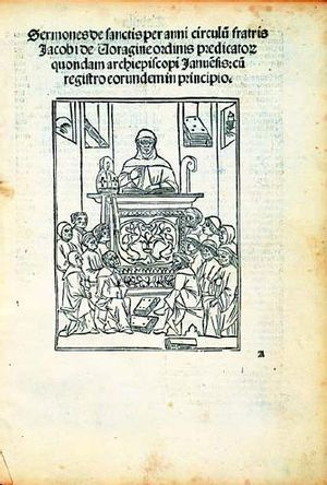 Jacobus da Varagine - Title page of the 1497 edition of the Sermones de sanctis showing the author as a preacher, National Library of Poland.