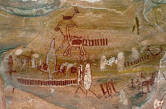 Brazil - Cave painting at Serra da Capivara National Park. This area has the largest concentration of prehistoric sites in the Americas.