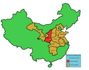 Depremden etkilenen Shaanxi ilini (kırmızı) ve diğer illeri (turuncu) olarak gösteren Çin haritası.