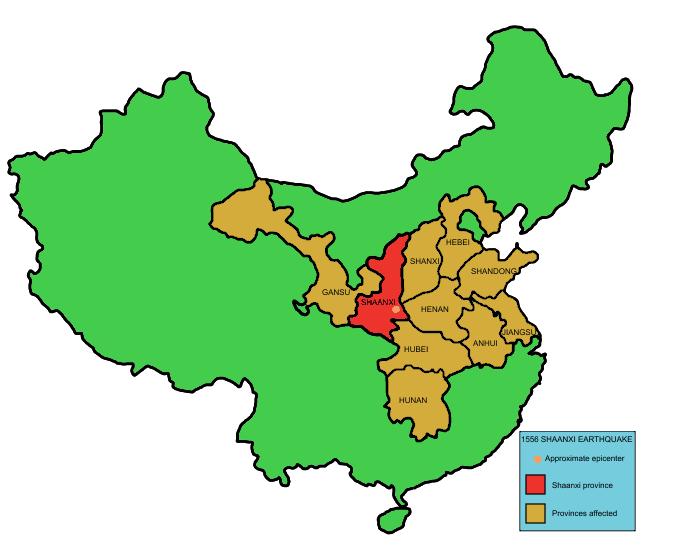 Shaangxi 1556 earthquake map of provinces