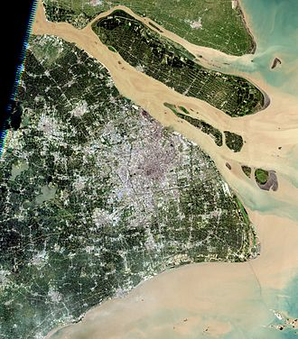 Islands of Shanghai - Image: Shanghai Landsat 7 2005 08 15