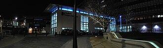 Sheffield Hallam University - Entrance to Sheffield Hallam University at night