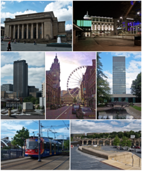 Top left: Sheffield City Hall; top right: the Crucible and Lyceum Theatres; middle left: St Pauls Tower; middle centre: Sheffield Town Hall and the Wheel of Sheffield; middle right: University of Sheffield Arts Tower; bottom left: Sheffield Supertram 109; bottom right: Sheaf Square and Sheffield station.