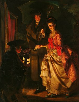 Elizabeth Ann Linley - Jerry Barrett's 1860 portrayal of Sheridan helping Elizabeth escape from her father's house.