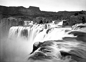 Route of the Oregon Trail - View across top of Shoshone Falls, Snake River, Idaho (Timothy H. O'Sullivan, 1874)