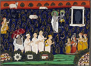 Vallabha -  Vallabhacharya discovers Shrinathji, at Mount Govardhan.