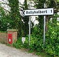 Sign and postbox, Glastry - geograph.org.uk - 806632.jpg