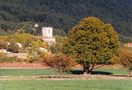 The church tower of Signes, amongst the trees