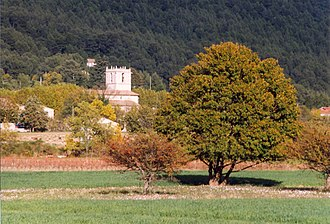 Signes, Var - The church tower of Signes, amongst the trees