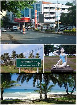 Từ trên xuống dưới: Trung tâm đô thị, đường Sangkat 4, tượng điêu khắc ở bãi biển Độc lập, đảo Koh Rong