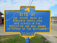 Site of Benjamin Hovey log house, Oxford, NY