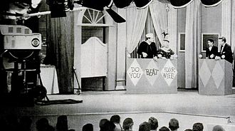 The Red Skelton Show - Red Skelton and Mickey Rooney at dress rehearsal for The Red Skelton Show at studio 33, January 15, 1957.