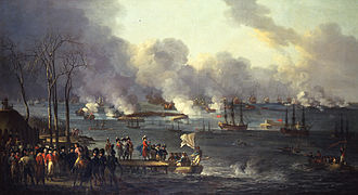1801 in Denmark - The Battle of Copenhagen, painting by Christian August Lorentzen.