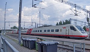 VR Class Sm3 - Unit 7x13, one of the final Sm3 series trains, at a service platform at Jyväskylä.