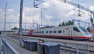 VR Class Sm3 - Unit 7x13, one of the final Sm3 series trains, at a service platform at Jyväskylä.