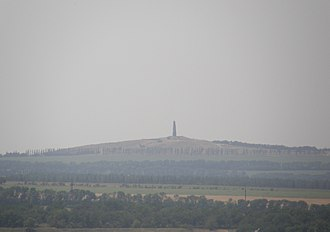 Battle in Shakhtarsk Raion - The strategic hill Savur-Mohyla, as seen from Snizhne. Insurgents used the hill to shell government positions in Marynivka