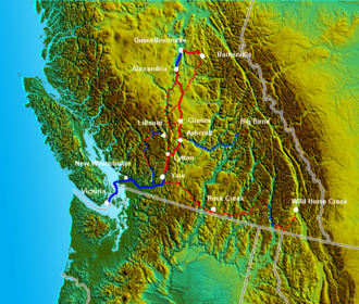 Cariboo Road - Route of the Cariboo Road in red. Steamboat travel in blue; dotted lines are alternate routes or routes to other goldfields