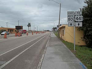 Florida State Road 80 - SR 80, looking east