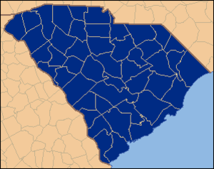 United States presidential election in South Carolina, 1936 - Image: South Carolina Locator Map 1936 election