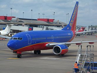 Pittsburgh International Airport - Southwest Airlines Boeing 737-700 pulling into the gate from Orlando, FL