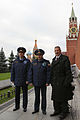 Soyuz TMA-22 crew at the Kremlin Wall in Red Square in Moscow.jpg