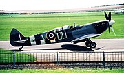 "Duxford, 2001. The ""Grace Spitfire,"" a preserved trainer version, ex-No. 485 Squadron RNZAF."
