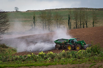 Liming (soil) - Liming of a field in Devon