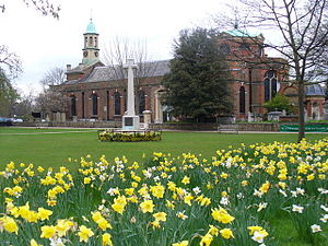 St Anne's Church, Kew - St Anne's and the Kew war memorial in the spring