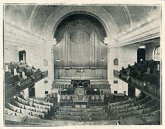 Casavant Frères Ltée. Opus 1841 (Highland Arts Centre Organ) - St. Andrew's Church Interior circa 1928 showing the prominent organ facade.