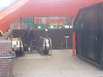 St Enoch subway station - Old-style (pre-2010s) St Enoch station entrance