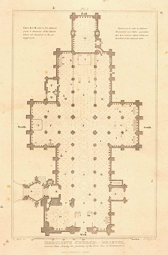 St Mary Redcliffe - Floorplan of St Mary Redcliffe circa 1850, the faint lines show the shapes of the vaulted arch ceilings.