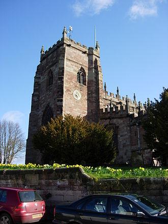 Malpas, Cheshire - Image: St oswalds malpas from sw