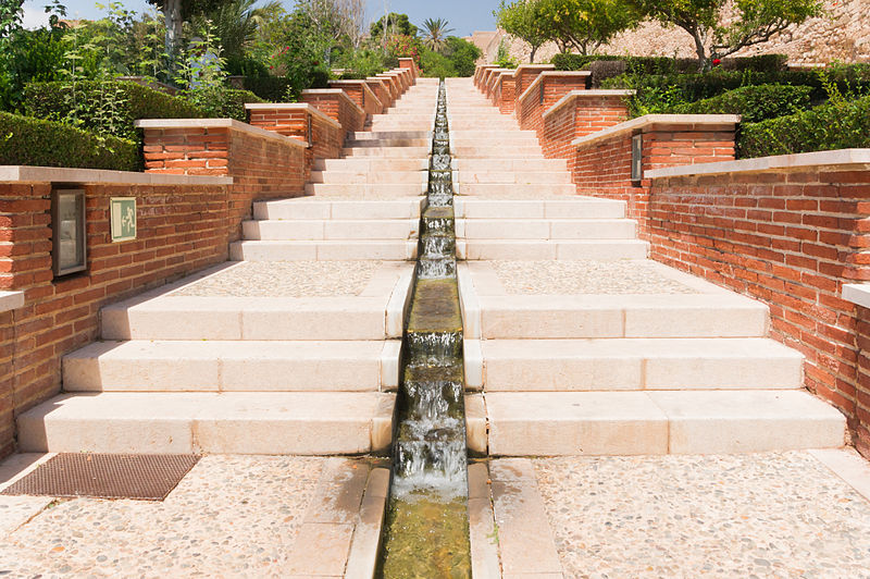 File:Stairs waterfall Alcazaba gardens, Almeria, Spain.jpg