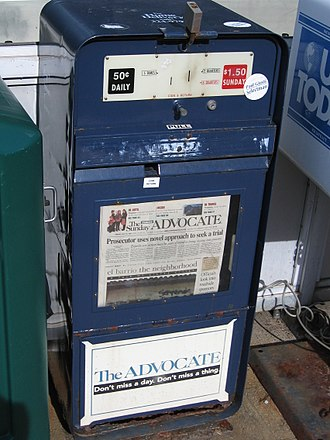 "The Advocate (Stamford) - The Advocate newspaper ""honor box"" in New Canaan, Connecticut"