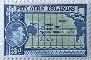 Geography of the Pitcairn Islands - Pitcairn postage stamp, c.1940, with helpful map.
