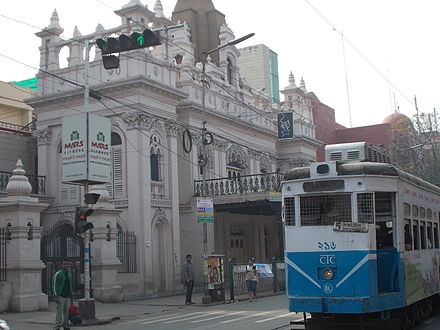 Kolkata Tram route no. 5 passing by Star Theatre