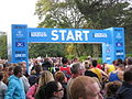 Starting gate, 2011 Liverpool Marathon.jpg