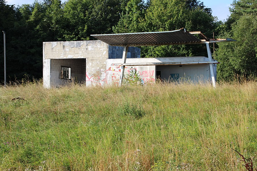 Abandoned petrol station on the D619 road in Chaumont, Haute-Marne, France.