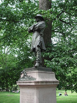 9th Regiment Massachusetts Volunteer Infantry - Statue of Colonel Thomas Cass standing in the Boston Public Garden