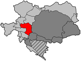 Duchy of Styria - Map of Austria-Hungary in 1910, showing Styria in red