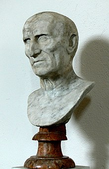 Bust of a bald man with an aquiline nose