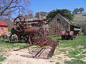 Carcoar, New South Wales - Historic machinery outside the Stoke Stable Museum