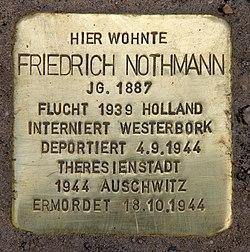 Photo of Friedrich Fritz Nothmann brass plaque