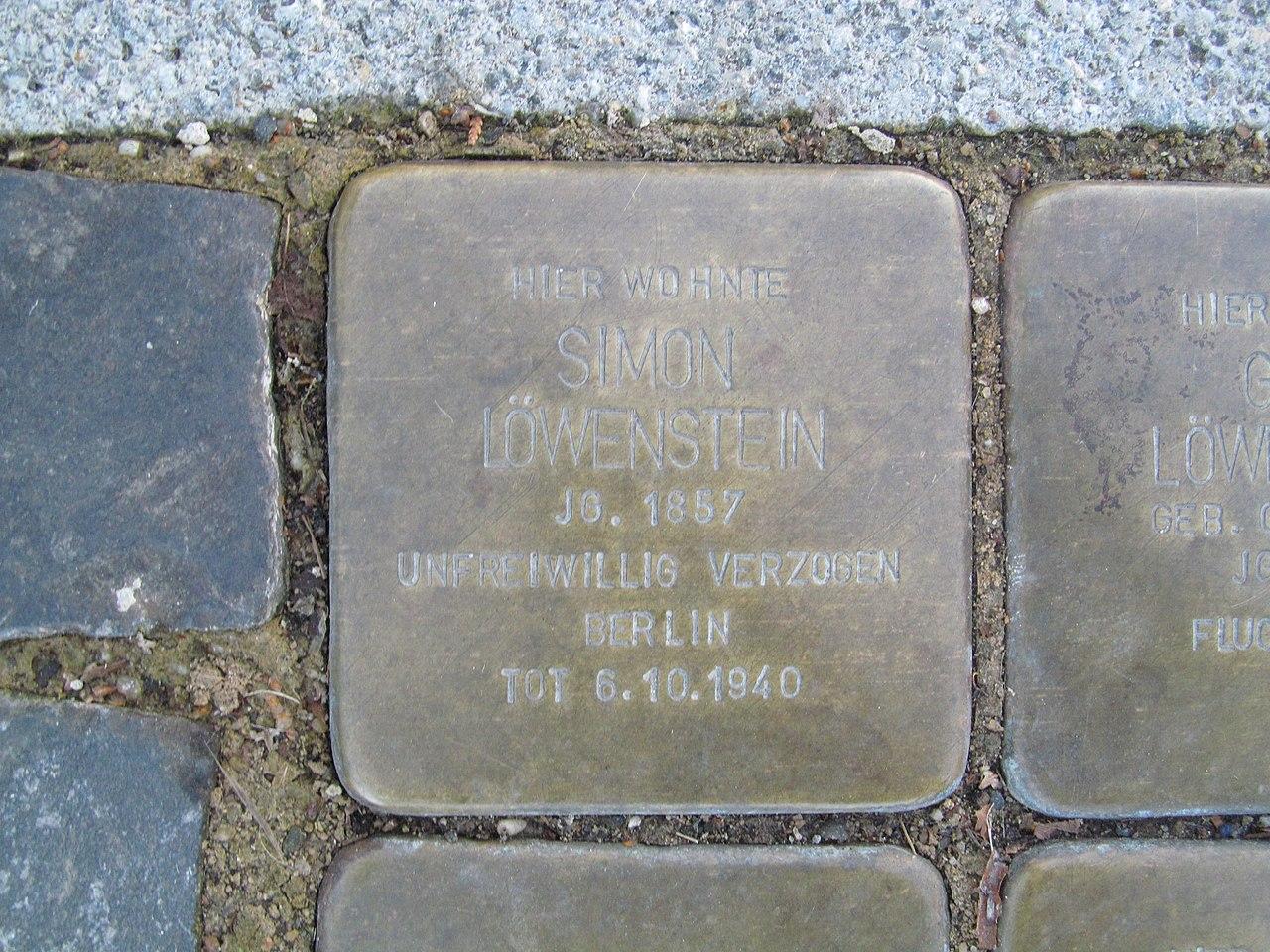 Stolperstein Simon Löwenstein, 1, Bahnhofstraße 31, Wabern, Schwalm-Eder-Kreis.jpg