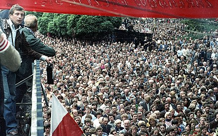 The 1980 Gdansk Shipyard Strike and subsequent Summer 1981 Hunger Demonstrations were instrumental in strengthening the Solidarity movement's influence. Strajk sierpniowy w Stoczni Gdanskiej im. Lenina 07.jpg