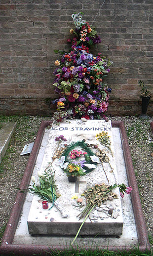 La tomba di Stravinskij nel cimitero di San Michele, a Venezia