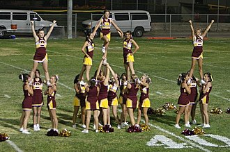 Barstow High School - Barstow High Aztec cheerleaders at a football game.