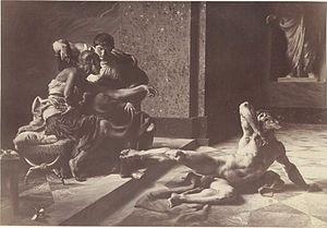 "Locusta - ""Locusta testing in Nero's presence the poison prepared for Britannicus"", painting by Joseph-Noël Sylvestre, 1876"